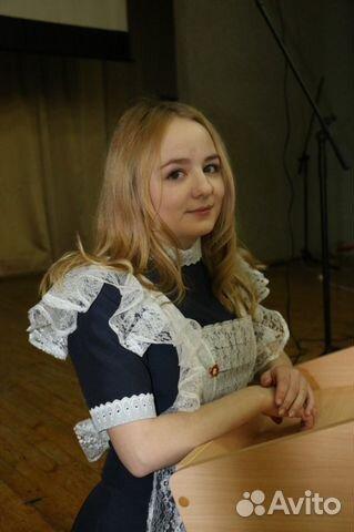 Школьное платье на последний звонок синее, фартук купить в Москве на ... 6b5b20b3cdf