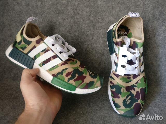 кроссовки Adidas Nmd R1 X Bape камуфляжный зелены купить в москве на