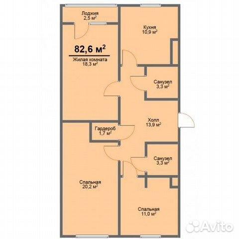 3-к квартира, 82.6 м², 2/3 эт.