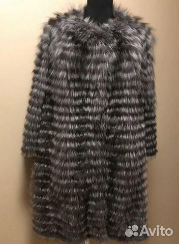 Пальто из чернобурки на трикотажной основе цена