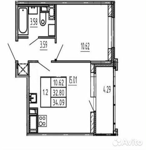 2-к квартира, 34.1 м², 6/13 эт.