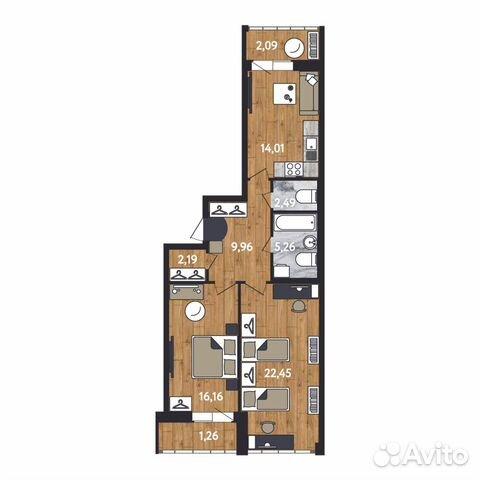2-к квартира, 75.9 м², 7/17 эт. 88129214698 купить 3
