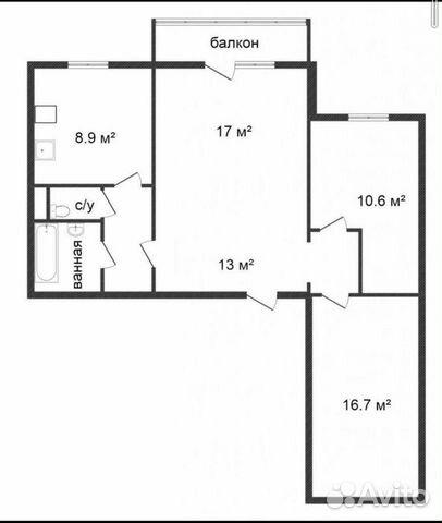 3-к квартира, 70 м², 6/10 эт.  купить 1